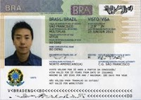 An Example Brazil Visa Document in a U.S. Passport