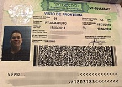 An Example of a Mozambique Visa in a U.S. Passport