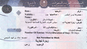 An Example of a Saudi Arabia Visa
