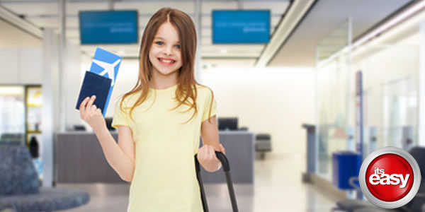 Child Holding Passport in Airport